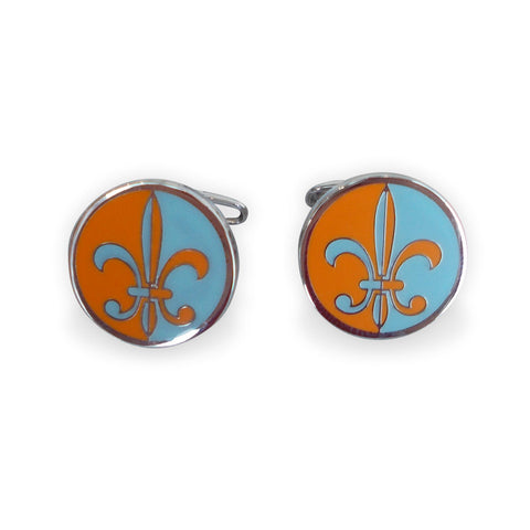 Fleur-de-lis round cufflinks: blue & orange