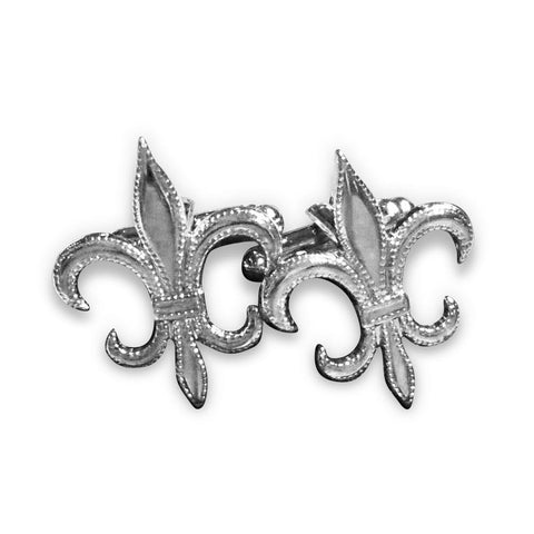 Fleur-de-lis cufflinks: silver with dotted border