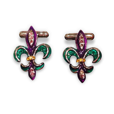 Fleur-de-lis cufflinks: purple, green, & gold