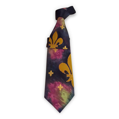 A Gorgeous Tie Full of Color, NOK's Fleur-de-Lis Hand-Painted Tie