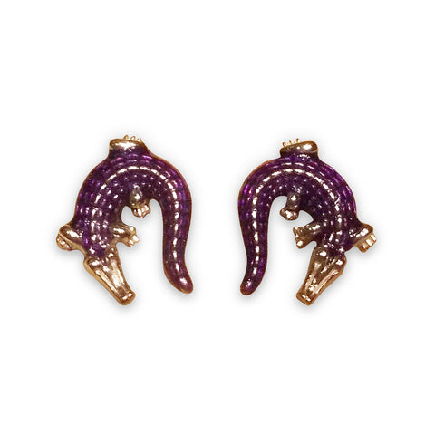 Alligator cufflinks: purple