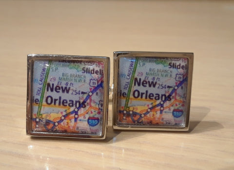 New Orleans - On The Map, Lapel Pin & Fine Cufflinks