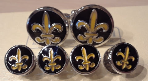 Fleur-de-Lis Round Cufflinks and Tuxedo Stud Set: Five Separate Exquisite Colors of Enamel - NOK Exclusive!