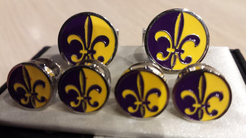 Fleur-de-Lis Round Cufflinks and Tuxedo Stud Set: Four Separate Exquisite Colors of Enamel - NOK Exclusive!