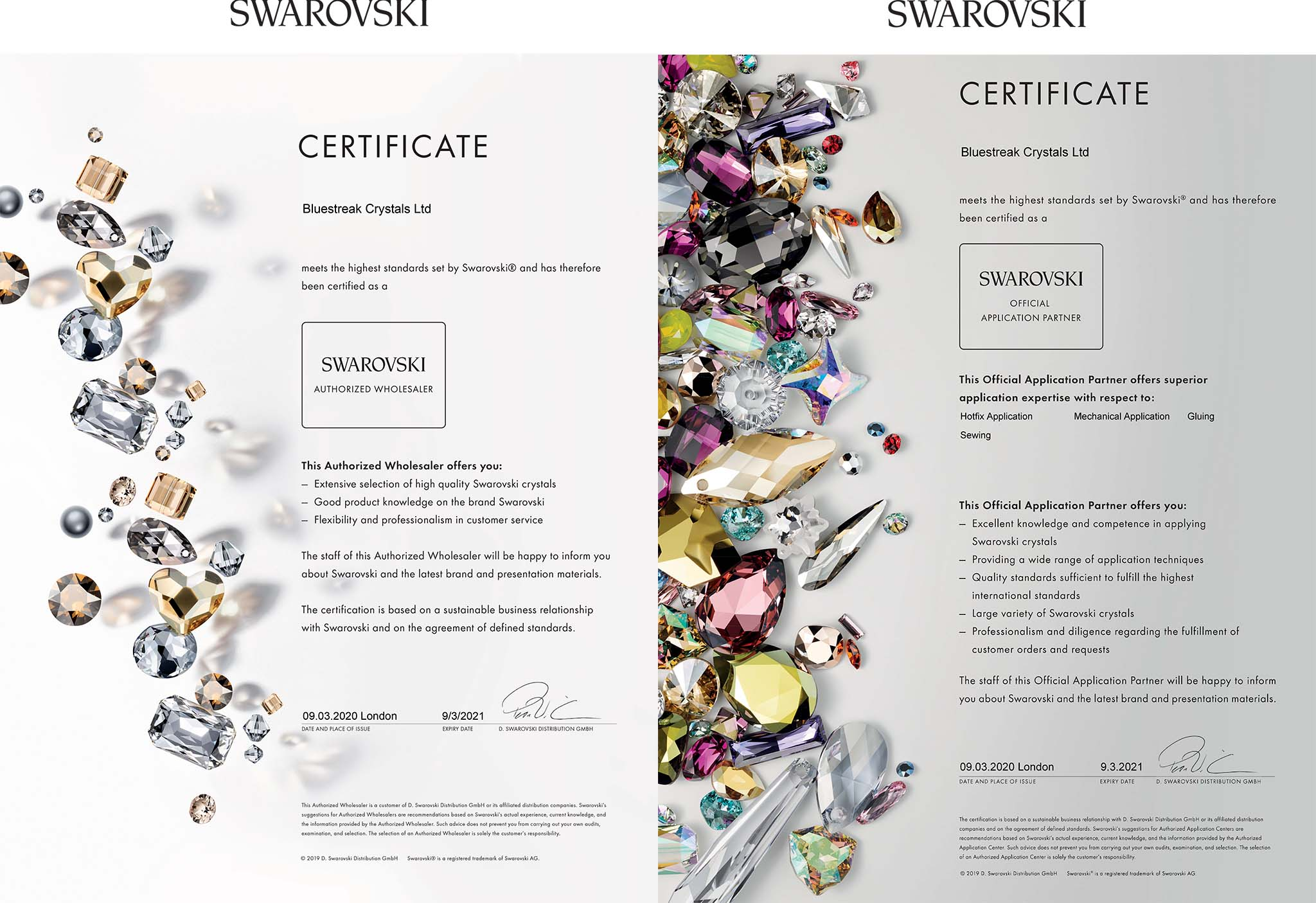 Authorised Swarovski Wholesaler Certificate and Official Application Partner Certificate for Bluestreak Crystals Ltd