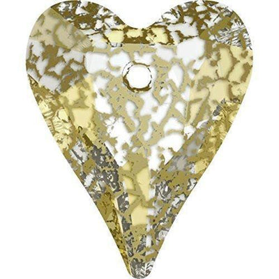 6240 Swarovski® Pendant Wild Heart-Swarovski Pendants-Crystal Gold Patina-27mm - Pack of 1-Bluestreak Crystals