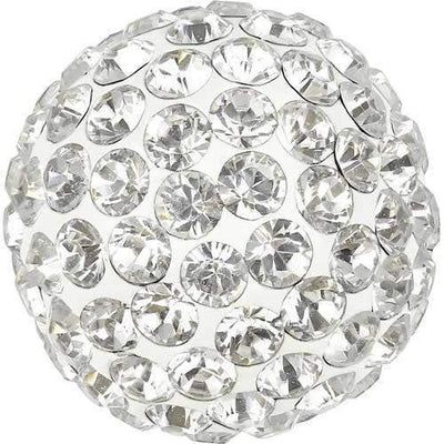 86301 Swarovski® Becharmed Charm Half Hole Pave Ball 8mm-Swarovski BeCharmed & Pave Charms-Crystal & White-8mm - Pack of 1-Bluestreak Crystals