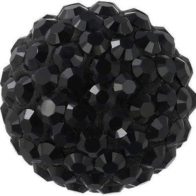 86301 Swarovski® Becharmed Charm Half Hole Pave Ball 8mm-Swarovski BeCharmed & Pave Charms-Jet Hematite & Black-8mm - Pack of 1-Bluestreak Crystals
