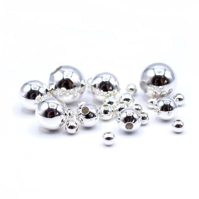 Silver Plated Jewellery Findings Round Smooth Beads-Silver Plated Findings-Bluestreak Crystals