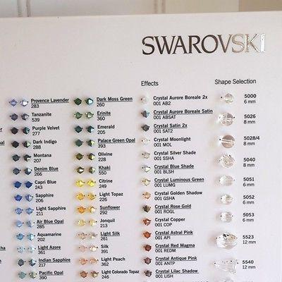 Swarovski® Colour Chart of Swarovski® Bicone Beads-Swarovski Colour Charts-Xilion Bead Chart-Bluestreak Crystals