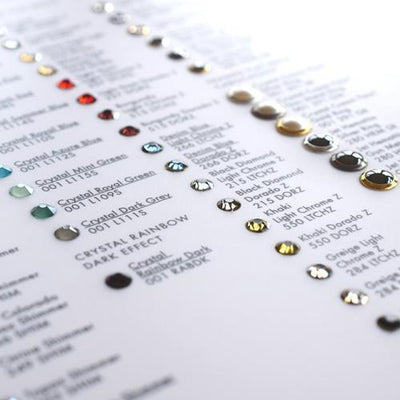Swarovski® Colour Chart of Swarovski® Flatback Crystals-Swarovski Colour Charts-Bluestreak Crystals