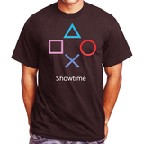 Men's Showtime Gamers PlayStation Black T-Shirt Large 100% Heavy Cotton (L)
