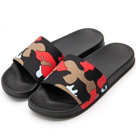 Men's Summer Camouflage Beach Sports Flip Flops Classic Latest Trend Comfortable Flat Slippers Red And Gray Top
