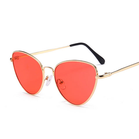 Women Small Frame Brand Design Vintage Sunglasses Blue Yellow Red