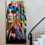 Modern Wall Art Prints Colorful Girl Feathered Women Canvas Painting ( 5 Day Delivery US & Canada)