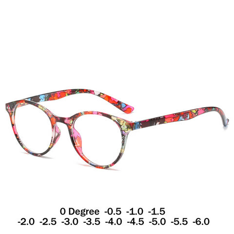 Women Floral Round Myopic Eyeglasses Nearsighted Optical Spectacle Frame