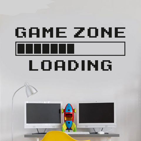DIY Game Room Plaque Home Decor Computer Video Game Zone Loading Decal Wall Quote