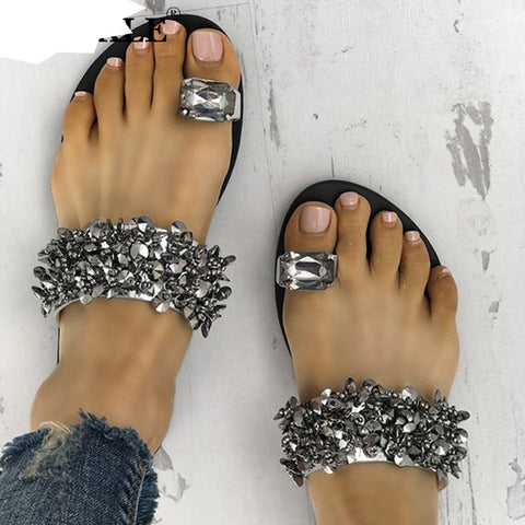 New Design Women Casual Flat Slippers Flip Flops Crystal