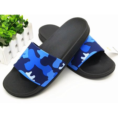 Men's Summer Camouflage Beach Sports Flip Flops Classic Latest Trend Comfortable Flat Slippers Blue And Black Top
