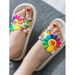 Women Anti-Skid Summer Flower Slippers Flip Flops White Size 40-41
