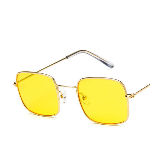 Brand Design Vintage Square Sunglasses for Women  Metal Frame Ocean Lens Retro