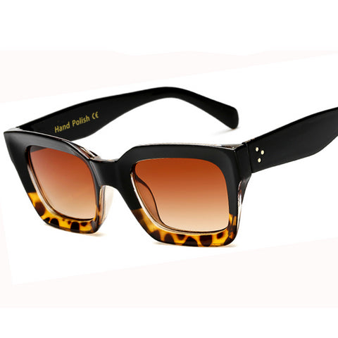 Big Frame Women Rivet Shades  Leopard Style Sunglasses Brand Design