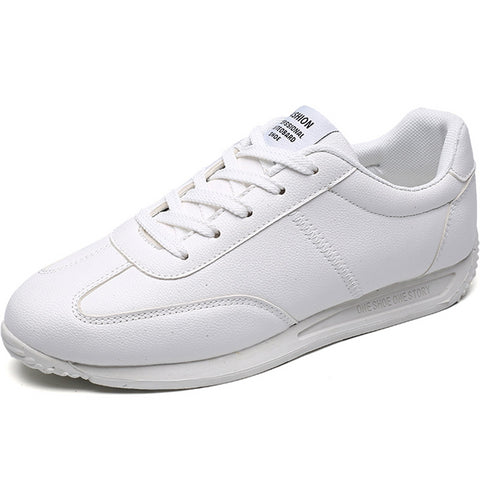 - LudBA Originals© White Leather Men's Sneakers Lightweight Dressy