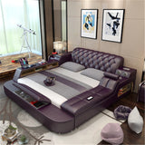 Our Latest Design Bed With Smart Bluetooth Speaker And Massage Multi-functionality Soft Leather