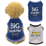 Pet Dog Clothes For Small Dogs BIG Brother Letter Shirt Painting Polar Puppy Coat