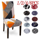 6PCS Spandex Chair Seat Covers Printed Material Stretch Elastic Universal Chair Slipcovers For Dining Chairs