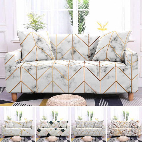 Geometric Slipcovers Marble Pattern Sectional Elastic Stretch Sofa Cover for Living Room Couch Cover L Shape Armchair Cover