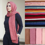 Women Plain Cotton Scarf Hijab Head Wrap Solid Full Cover-Up