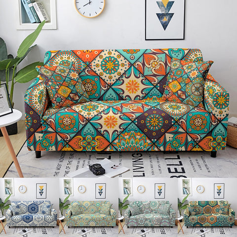 Mandala Sofa Slipcovers Elastic Sofa Covers for Living Room Couch Cover Stretch Sectional Corner Sofa Covers 1/2/3/4 Seaters