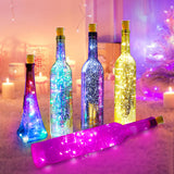 LED Wine Bottle Lights With Cork Copper Wire Battery Powered Garland Colorful Fairy Lights String For Party Wedding Decor