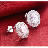 Women's Original Sterling Silver Oval Zircon Stud Earring