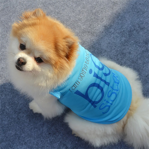 Summer Pet Blouse Tops Dog Vest Wedding Princess Dog Clothes T-shirt Big Sister Dog Jersey