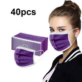 50pcs Adult Purple Disposable Face Mak Breathable  Kids Disposable Face Shild Fashion