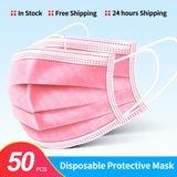 10/100 Pcs Disposable Non-woven 3-layer Face Mask Anti Dust Breathable Mask with Elastic Earband Adult