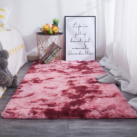 European Long Hair Area Rug Carpet Bedroom Bay Window Bedside Mat Washable Blanket