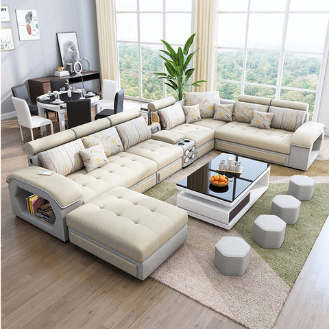 Home Furniture Couch European Style Luxury Couch Sofa Set Fabric Living Room Get Free  4 Ottoman