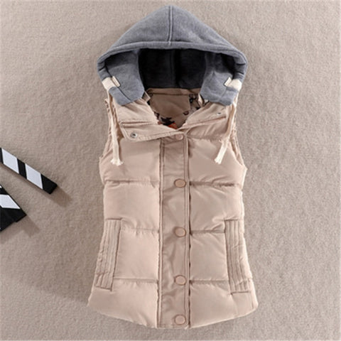 Winter Basic Women Vest Solid Hooded - Dealfactor Canada