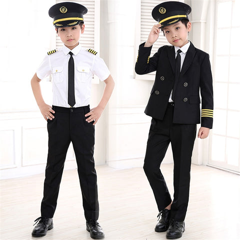 Kids Career Costume Pilot Flight Attendant Cosplay Uniforms Aircraft Captain Clothes - Dealfactor Canada
