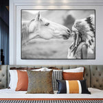 Nordic Girl and Horse Canvas Prints No Frame Art Print Painting Poster