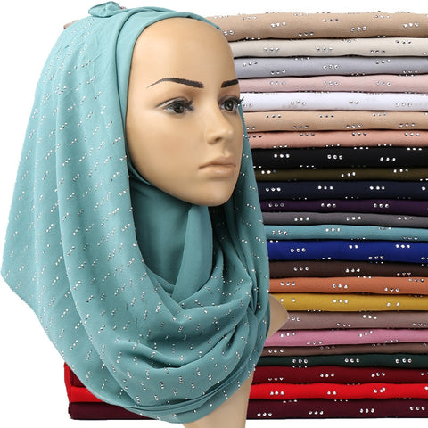 Women Bubble Chiffon Hijab Scarf Shawl Plain Shimmer Headwrap
