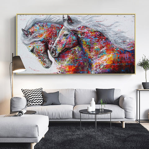 Two Running Horses Animal Wall Art Canvas Painting For Living Room