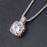 Square Rhinestone Crystal Zircon Pendant Necklace Women Silver Metal - Dealfactor Canada