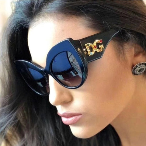 Women Luxury Retro Brand Cat Eye Sunglasses Fashion Diamond Brick Frame