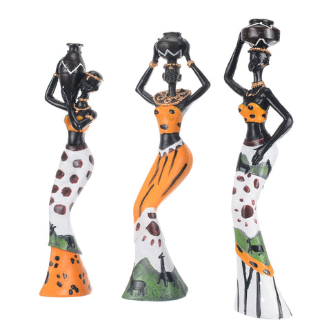 3pcs Exotic African Lady Figurines Statue Set Ornament - Dealfactor Canada