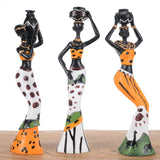 - 3pcs Exotic African Lady Figurines Statue Set Ornament