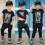 Boy Suit 2Pcs Cotton Tops T Shirt With Straps Pants Legging Outfits - Dealfactor Canada